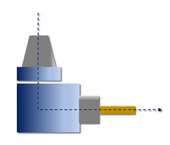 HPC-LiTo-ARo-1: Angled arrangement, 90 degrees, single output, can be rotated around Z-axis