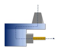 HPC-LiTo-AB-1: Gewinkelte Anordnung, 90 Grad, zurückversetzt, Abtrieb einfach